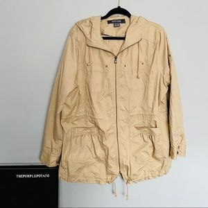 Kenneth Cole Tan Zip Up Hooded Utility Jacket